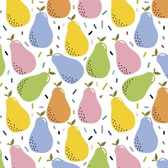 Kleurrijk patroon van hand-drawn peren