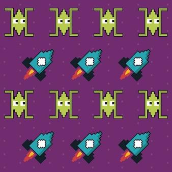 Kleurrijk patroon van ruimtelijk schepen en raketspel