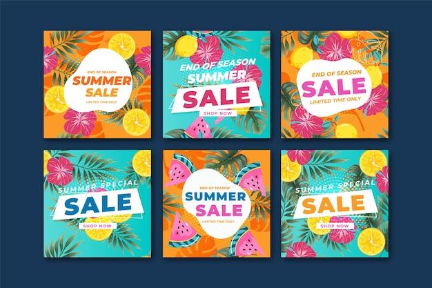 Kleurrijk patroon zomer verkoop instagram verhaal