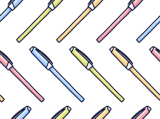 Kleurrijk pennenpatroon in beeldverhaalstijl.