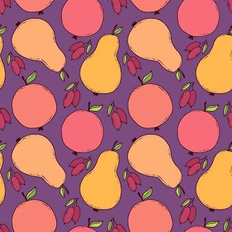 Kleurrijk perenpatroon. reapiting achtergrond met peren, appels en kornoelje bessen. herfsttextielontwerp en kinderachtige seizoensprint