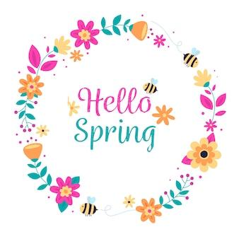 Kleurrijk plat lente bloemenframe