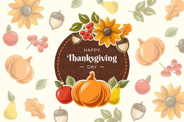 Kleurrijk plat ontwerp voor thanksgiving achtergrond