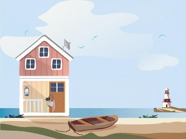 Kleurrijk plattelandshuisje met houten boot op het strand met vuurtoren.