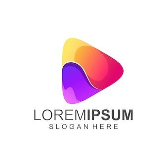 Kleurrijk play-logo