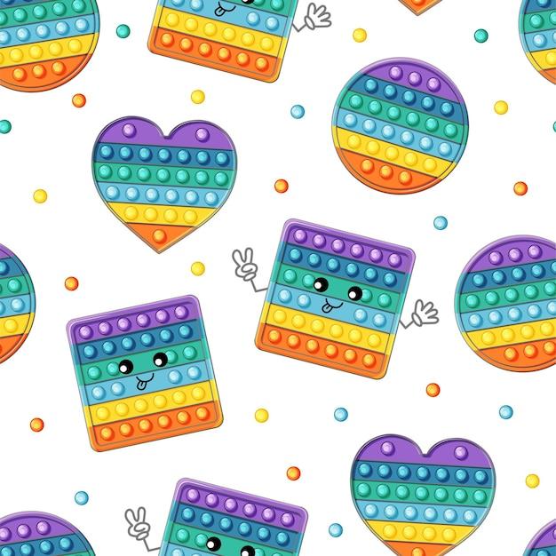 Kleurrijk pop-it naadloos patroon. schattig kawaii-personage.