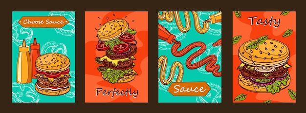 Kleurrijk postersontwerp met hamburger en saus.