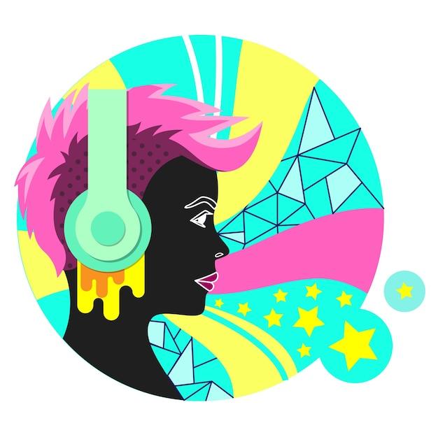 Kleurrijk punkmeisje met hoofdtelefoons
