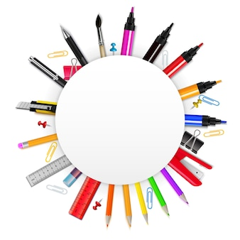 Kleurrijk realistisch frame in vorm van cirkel met diverse kantoorbehoeftenpunten op witte vectorillustratie als achtergrond