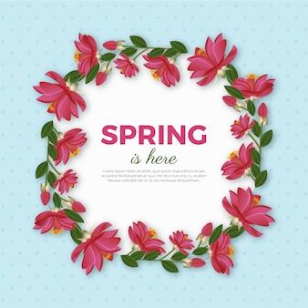 Kleurrijk realistisch lente bloemenframe