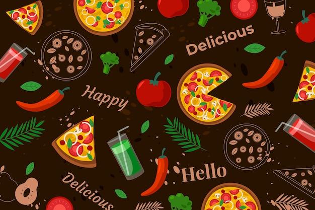Kleurrijk restaurant muurschildering behang