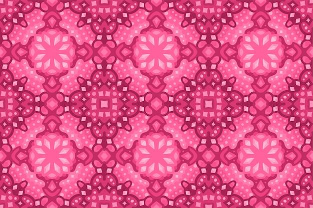 Kleurrijk robijnrood naadloos tegelpatroon met kristallen