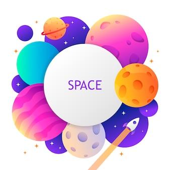 Kleurrijk ruimtemalplaatje voor de illustratie van de de kaartdekking van het bannerkader