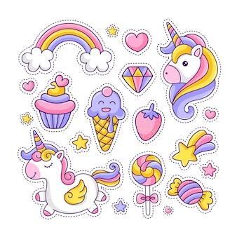 Kleurrijk schattig stickerpakket met eenhoorn en desserts