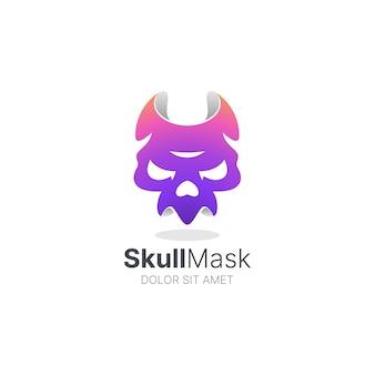 Kleurrijk schedelmasker vector logo