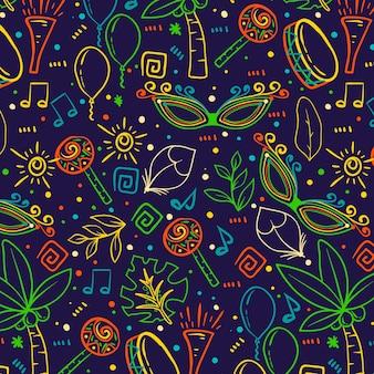 Kleurrijk schetsen braziliaans carnaval-patroon