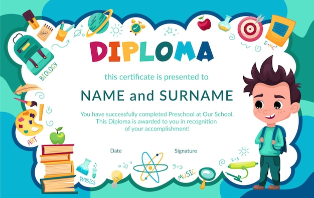 Kleurrijk school- en voorschools diplomacertificaat voor kinderen en in de kleuterklas