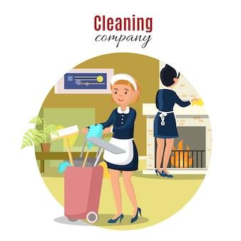 Kleurrijk schoonmaak serviceconcept