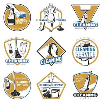 Kleurrijk schoonmaakservice-logo