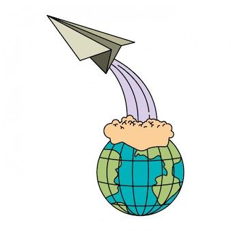 Kleurrijk silhouet van aardebol en document vliegtuig het vliegen
