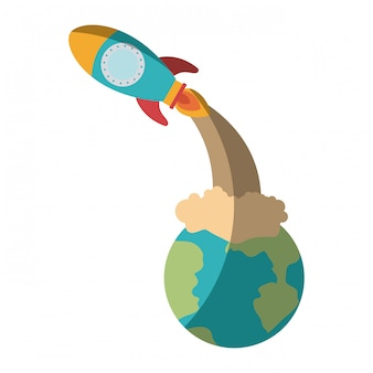 Kleurrijk silhouet van aardebol en ruimteraket lancering zonder contour en in de schaduw stellend