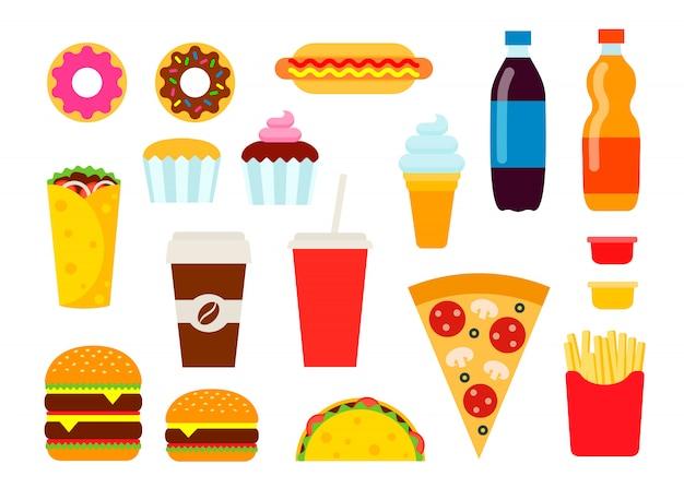 Kleurrijk snel voedsel dat in vlakke stijl wordt geplaatst.