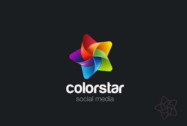 Kleurrijk star-logo. lineaire stijl Premium Vector