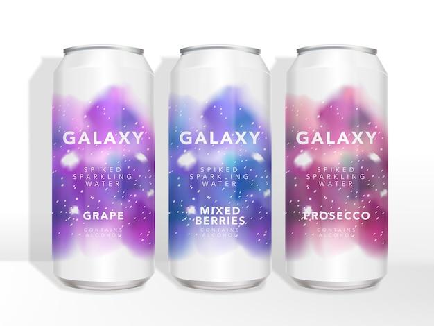 Kleurrijk starry galaxy-thema aluminium blikverpakking ontwerp van drank, bier, thee, koffie, sap of alcoholische dranken