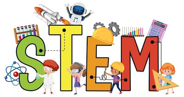 Kleurrijk stem-onderwijs tekstpictogram