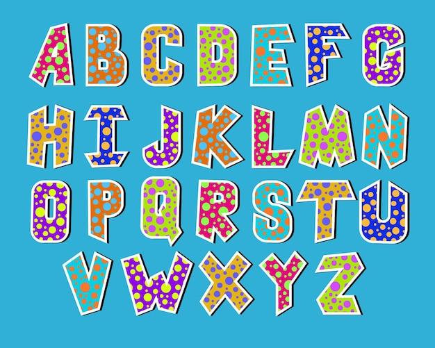 Kleurrijk stipalfabet voor kinderen - vectorillustratie eps 10