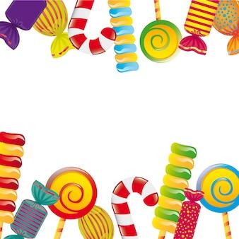 Kleurrijk suikergoed over witte vectorillustratie als achtergrond