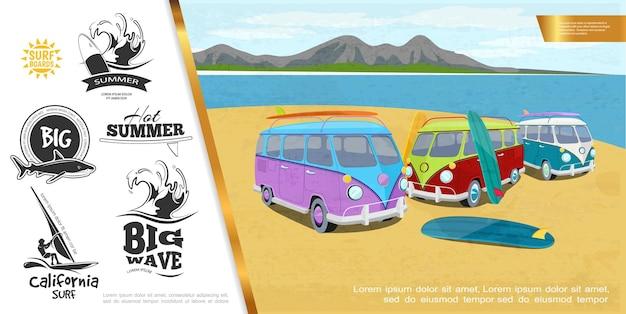 Kleurrijk surfen sport helder concept met surfplanken vrachtwagens op meer en bergen landschap grote zee golven haai windsurfen zwart-wit emblemen illustratie