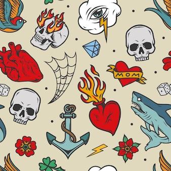Kleurrijk tatoeages vintage naadloos patroon met schedels