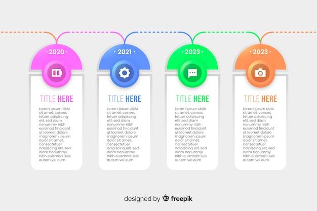 Kleurrijk tijdlijn infographic plat ontwerp