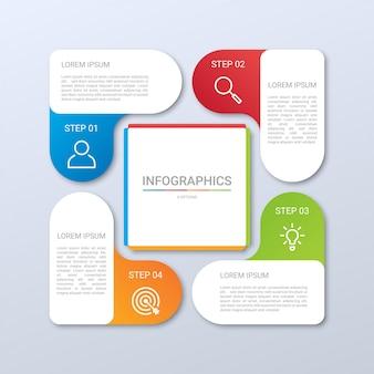 Kleurrijk tijdlijn infographic sjabloon met 4 stappen op grijze achtergrond, illustratie