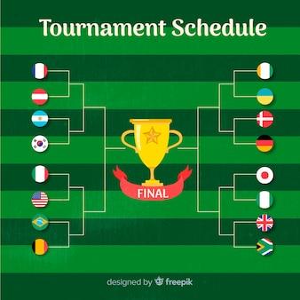 Kleurrijk toernooischema met plat ontwerp