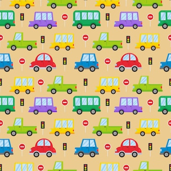 Kleurrijk transport naadloos patroon