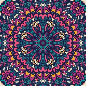 Kleurrijk tribal etnisch feestelijk abstract bloemen vectorpatroon. geometrische mandala framerand