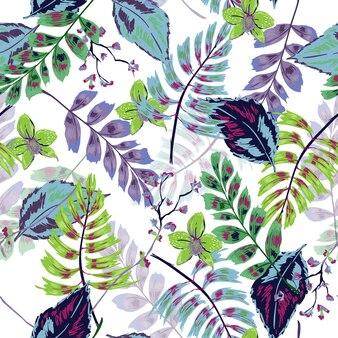 Kleurrijk tropisch bladeren vector naadloos patroon