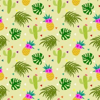 Kleurrijk tropisch elementen naadloos patroon.