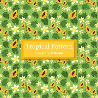 Kleurrijk tropisch patroon met vruchten