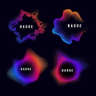 Kleurrijk uitstekend halftone kenteken op zwarte vectorreeks