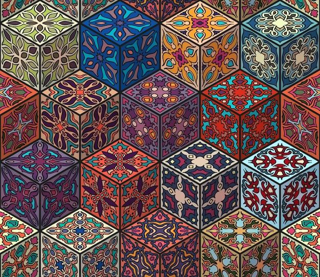 Kleurrijk uitstekend naadloos patroon met bloemen en mandalaelementen