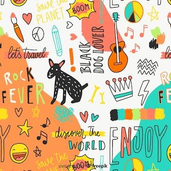 Kleurrijk van krabbeldieren en woorden patroon
