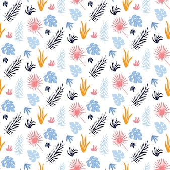 Kleurrijk vector naadloos patroon met tropische bladeren.