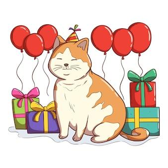 Kleurrijk verjaardagsfeestje met kawaii kat