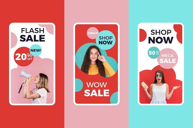 Kleurrijk verkoop instagram verhalenpakket