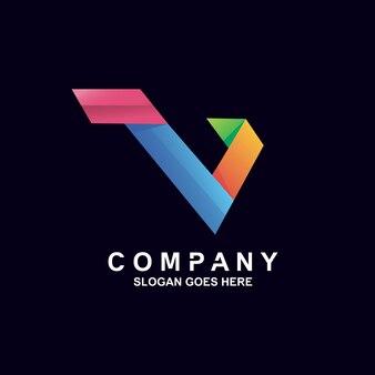 Kleurrijk verloop letter v logo-ontwerp