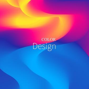 Kleurrijk verloop met 3d-vloeibare golf en vloeibare achtergrond.