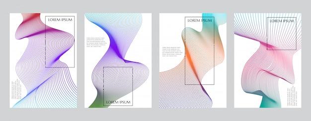 Kleurrijk verloop minimale geometrische lijn patroon voorbladsjabloon